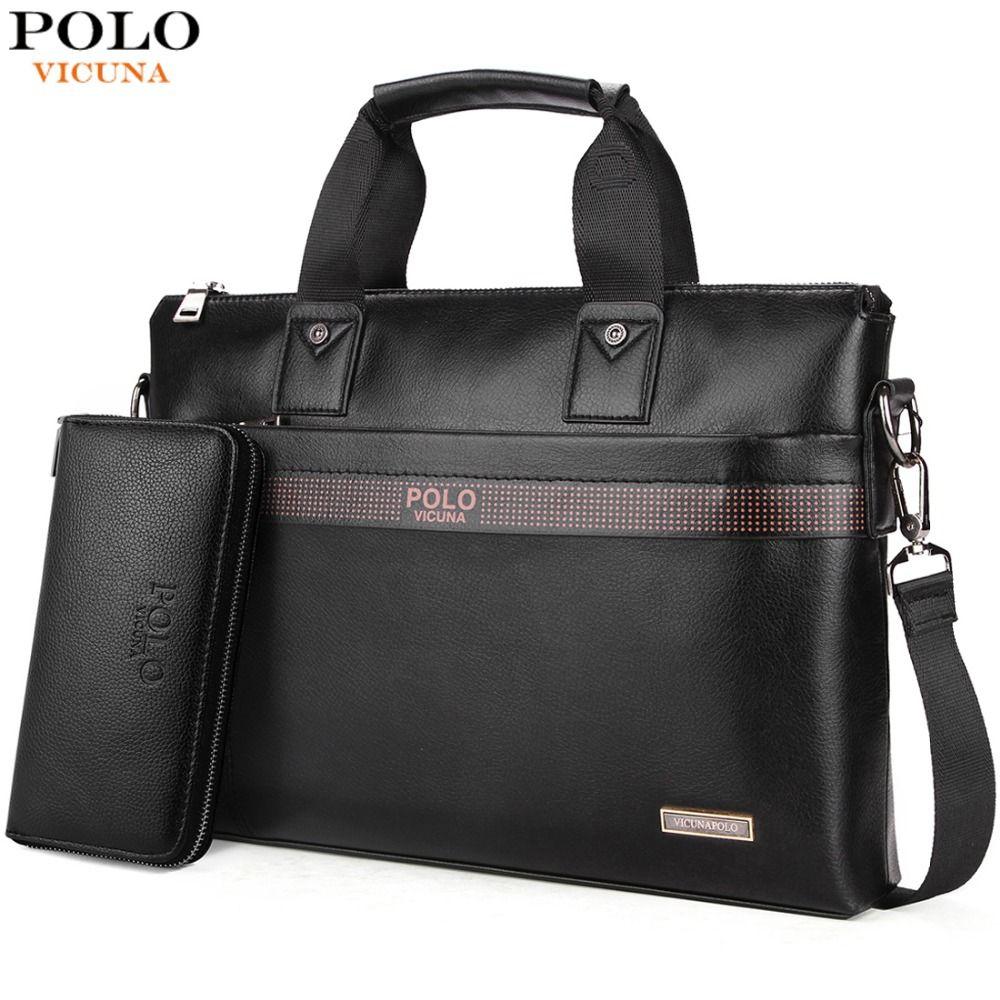 VICUNA POLO Top vente mode Simple point célèbre marque affaires porte-documents pour homme en cuir pochette d'ordinateur décontracté homme sac sacs à bandoulière