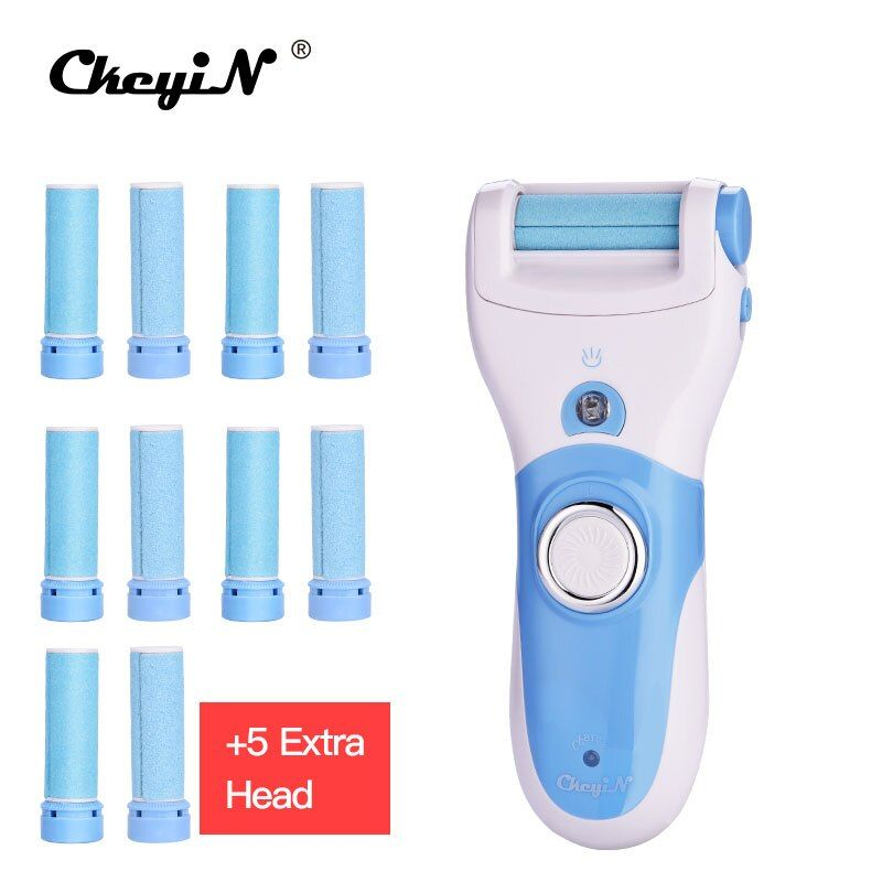 Rechargeable Electric Exfoliator Pedicure Callus Feet Care Tool Skin Remover Personal Care Peeling Foot Massager+11 Roller Heads