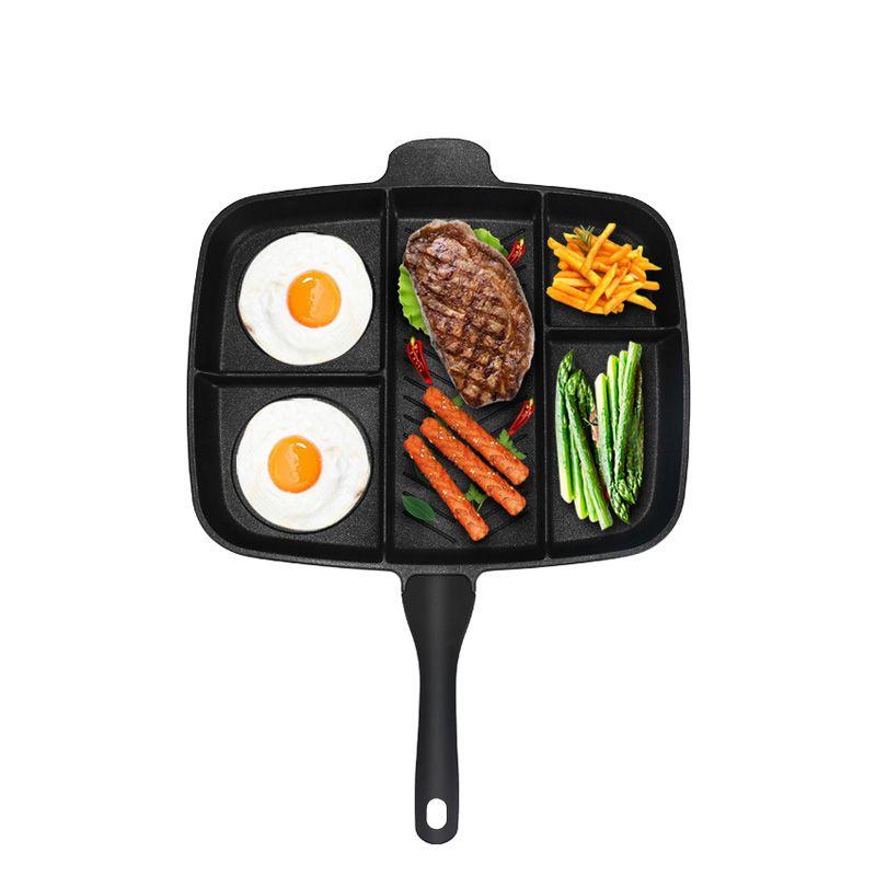 Großhandel Friteuse Pan Nicht-Stick 5 in 1 Braten Pan Unterteilt Grill Induktion Herd Braten Ofen Mahlzeit Pfanne 15