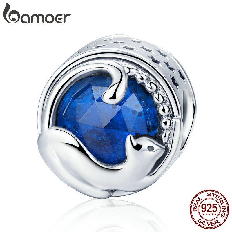 BAMOER 100% 925 Sterling Silver Playing Kitten Cat <font><b>Blue</b></font> CZ Charm Beads fit Charm Bracelet & Bangles DIY Jewelry Making SCC708