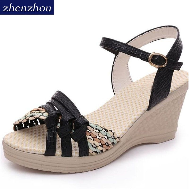 Free shipping Women Sandas 2018 summer womens shoes wedges sandals platform shoes platform straw braid color block high-heeled