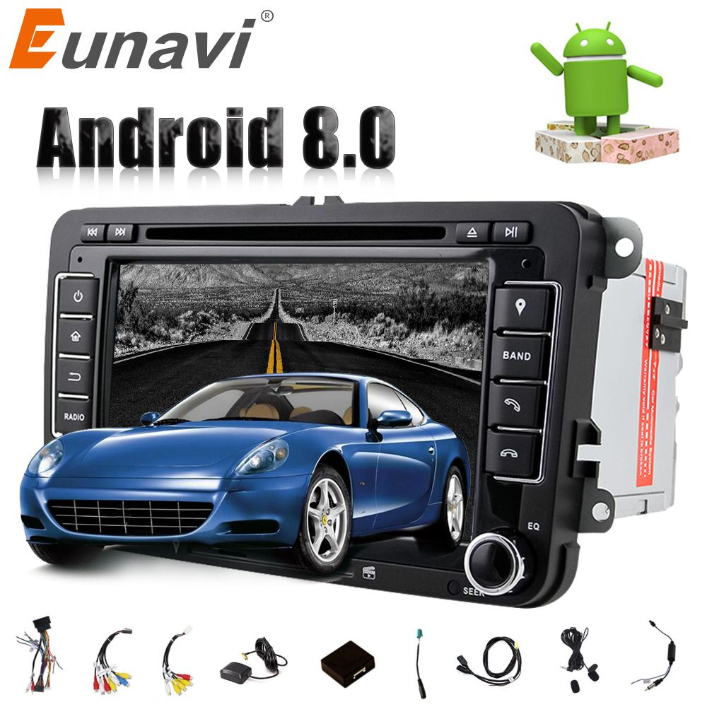 Eunavi Octa 8 Core Android 8.0 2 DIN 7'' Car dvd player For VW GOLF JETTA POLO TOURAM PASSAT B6 with GPS stereo radio usb WIFI