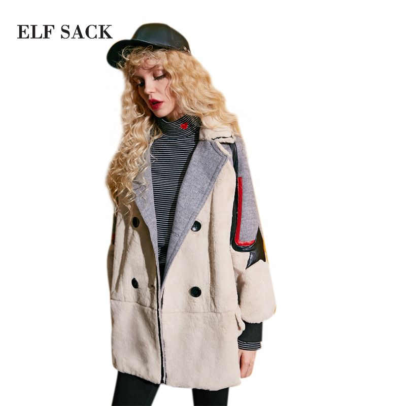 Winter Women Stitching 20% Woolen Coats Casual Mid-Long Turn Down Collar Punk Womens Coats Casual Long Sleeve Wool Coat
