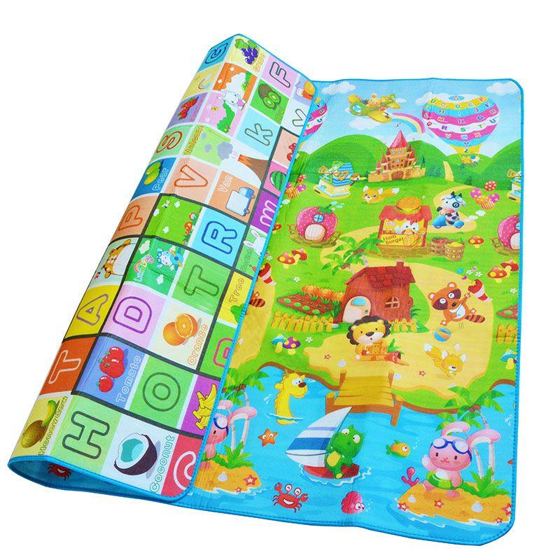Bebé de Arrastre Mat 2*1.8 Meter Climb Pad Doble-Lado de Frutas cartas Y Happy Farm Juguetes Del Bebé Playmat Alfombra Kids Bebé juego