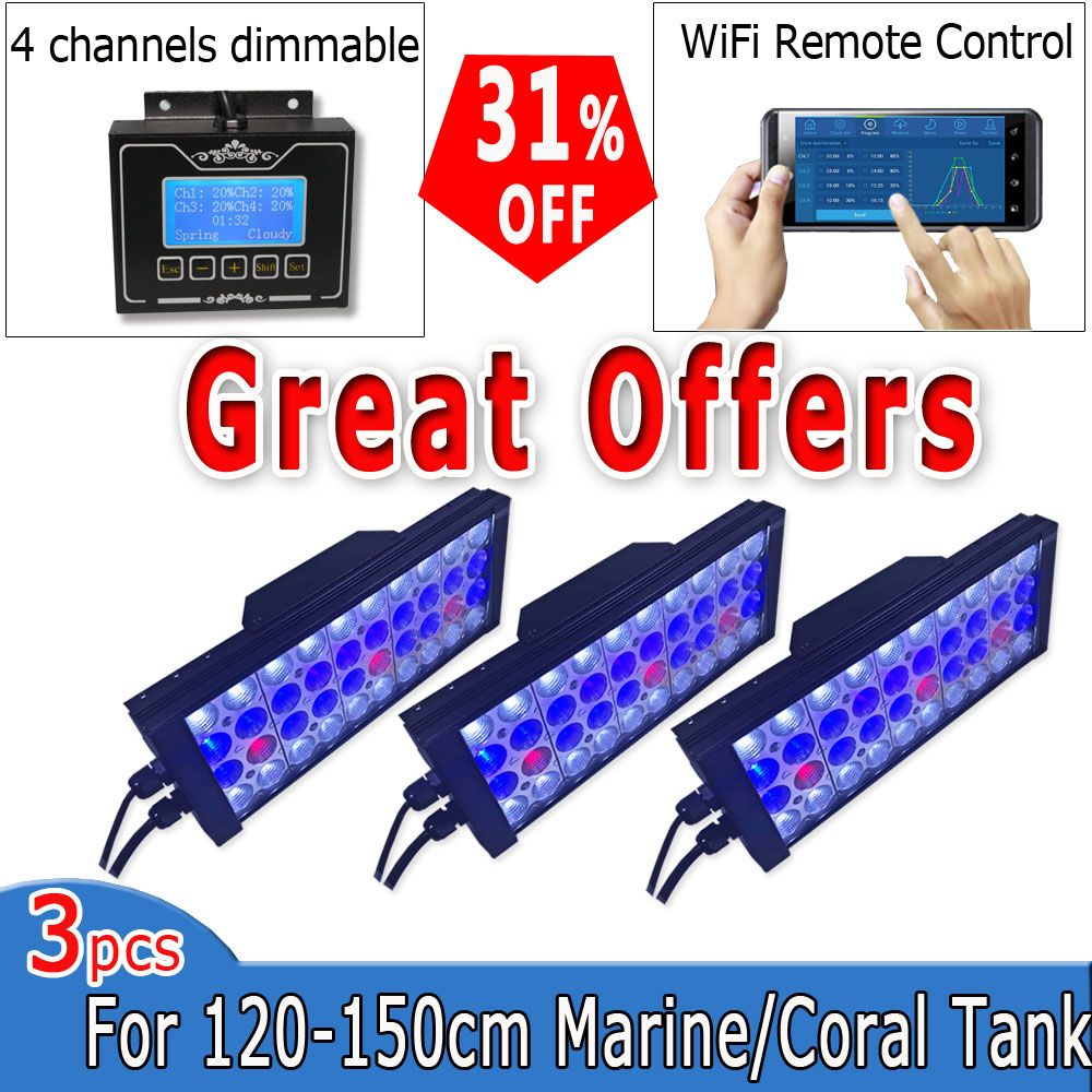 aquarium led lighting reef wifi programmable Full Spectrum for 120cm marine lps sps led tank para acuario marino luz verlichting