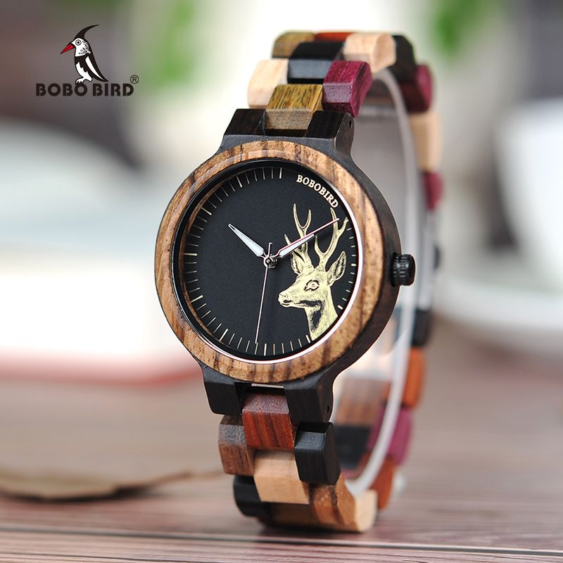 BOBO BIRD Quartz Watch Men <font><b>reloj</b></font> mujer Elk Engraving Wooden Women Watches in Wood Box relogio masculino Great Gift for Lover