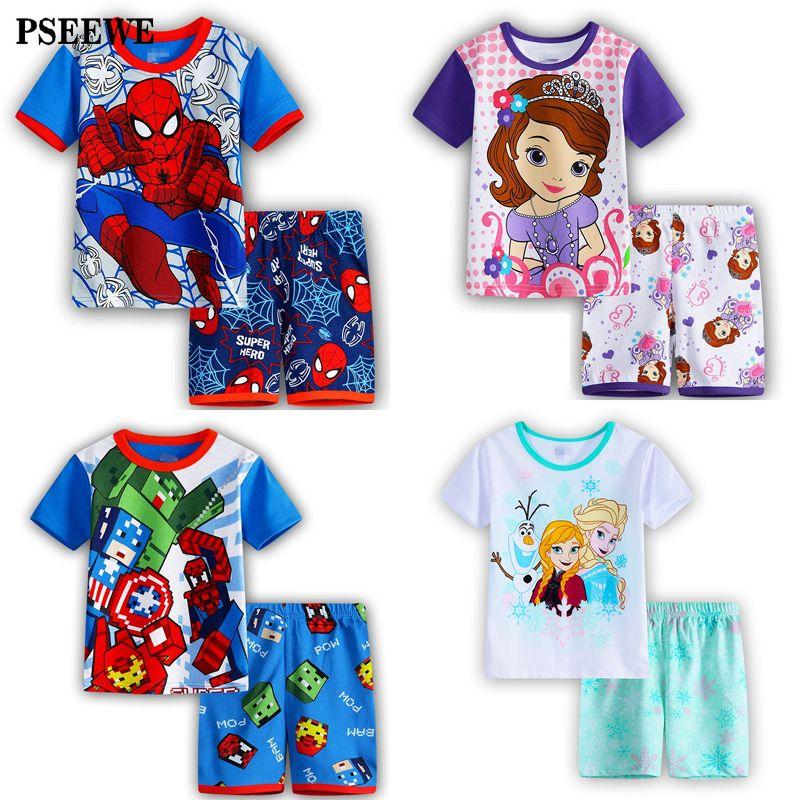Enfants de pyjamas d'été à manches Courtes Ensemble Bébé Garçon Fille de Bande Dessinée Spiderman Minnie Laquais vêtements de nuit pour enfants pyjamas pour enfants