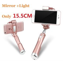 Ulanzi Mini Selfie Stick 3 in 1 Bluetooth Selfie Stick with LED Light and Reflective Mirror for iPhone Samsung smartphone