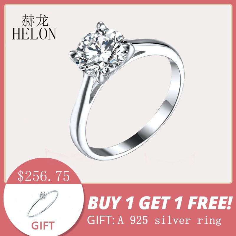 HELON 1.25ct Moissanites Ring Solid 10K White Gold Round 7mm Test Positive Lab Grown Moissanites Diamond Engagement Ring Women
