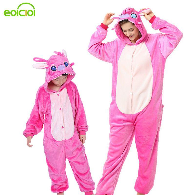 Pyjamas animaux une pièce famille correspondant tenues adulte onesie mère et fille vêtements Totoro dinosaure licorne Pyjamas femmes