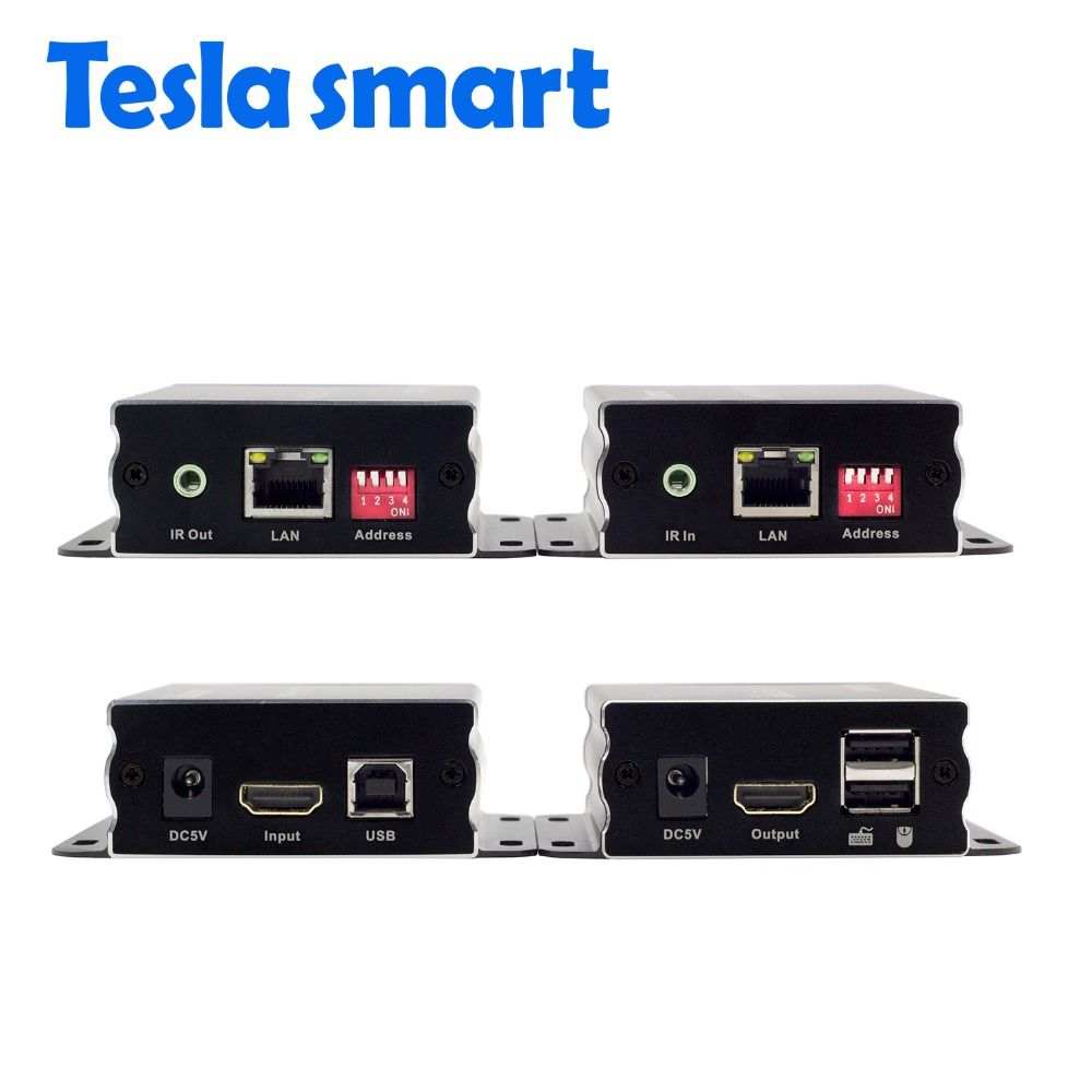 Tesla smart IP Netzwerk KVM Extender High Quality 120 mt USB HDMI IR KVM Extender durch CAT5e/6 TCP/(1 Extender TX + 1 Extender RX)