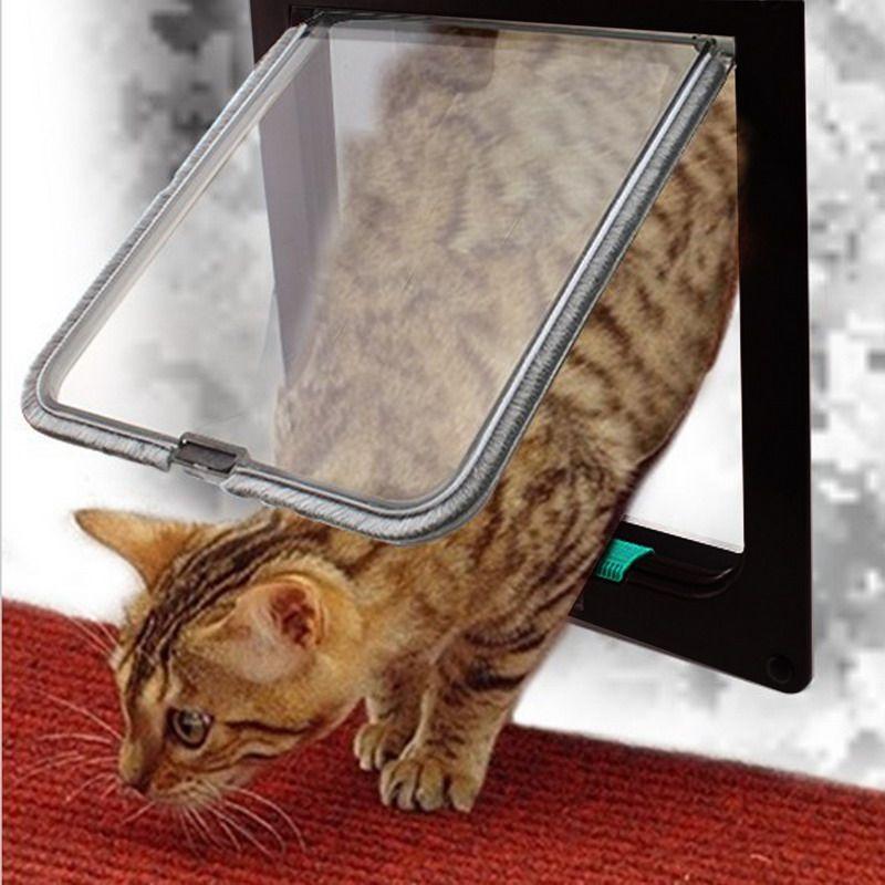 4 Way Lockable Dog Cat Kitten Door Security Flap Door ABS Plastic S/M/L Animal Small Pet Cat Dog Gate Door Pet Supplies