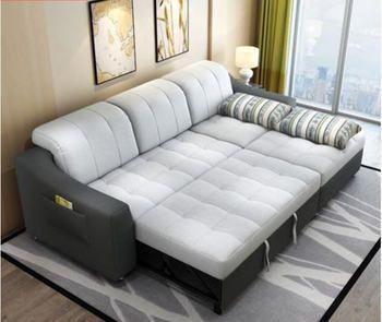 نسيج أريكة السرير مع تخزين أثاث غرفة المعيشة أريكة/غرفة المعيشة القماش للسرير ركن الاقسام وظيفية المخده