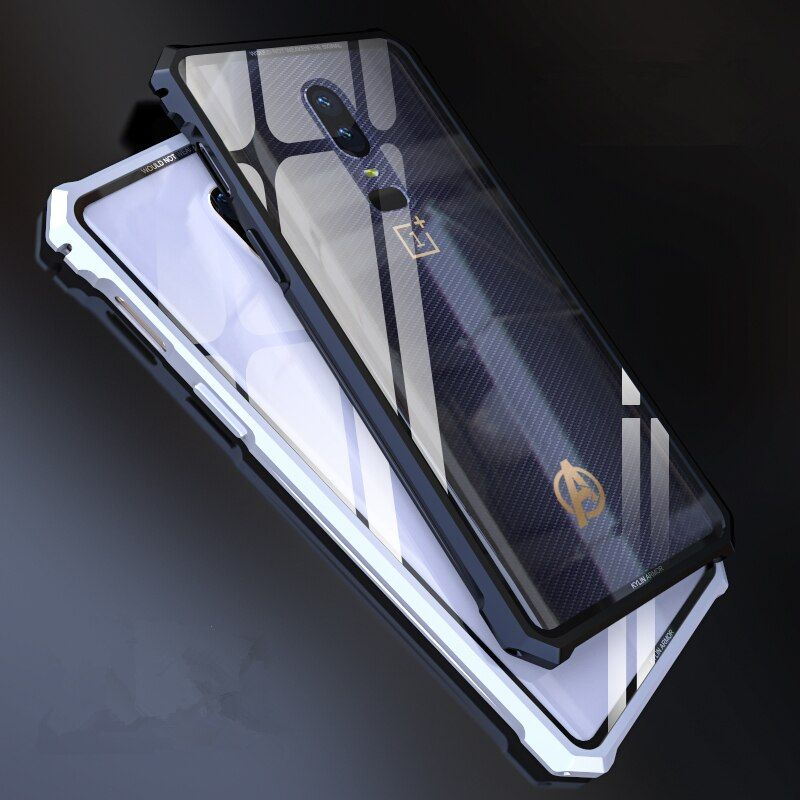 Voppton Luxury Clear armor Case for Oneplus 6 1+6 case metal frame Tempered glass cover For 1+6 Oneplus 6 Transparent Fundas