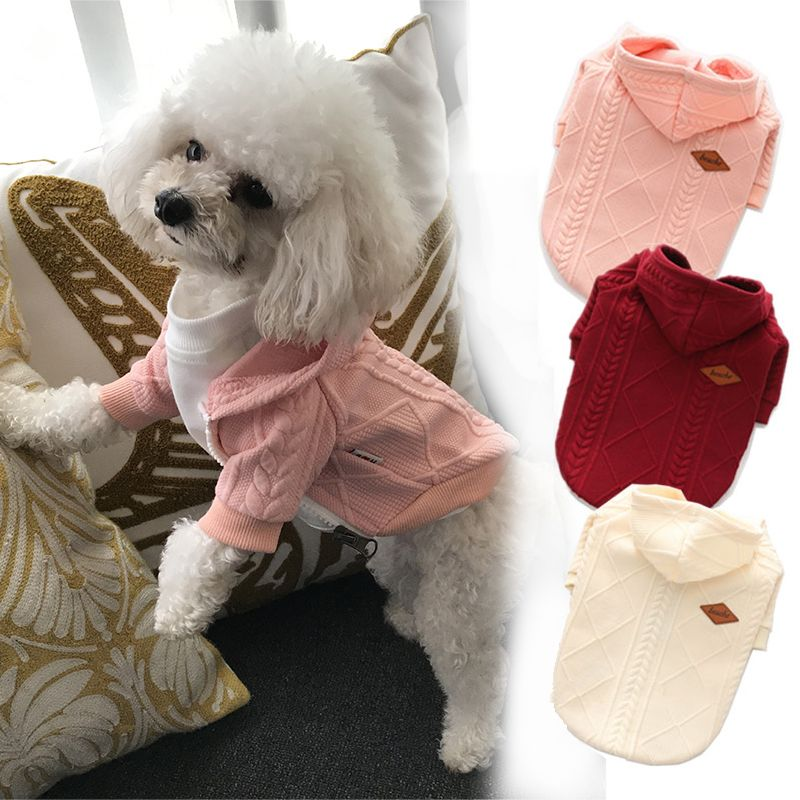 Leisure Pet Cat Dog Clothes Solid Hoodies Jacket for Small Medium Dogs Cat Soft Coat Wrap with Zipper Simple All-match Costume