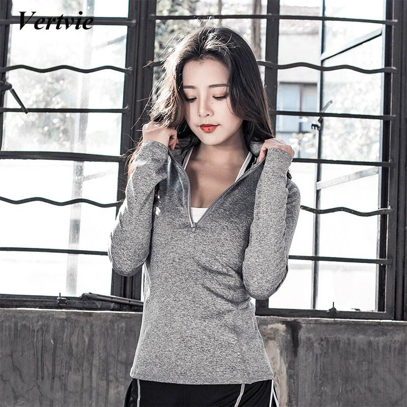 Vertvie Women Sports Jacket Running Zipper Jacket Long Sleeve Fitness Gym Yoga Jacket Breathable Quick Dry Outdoor Sport Jacket