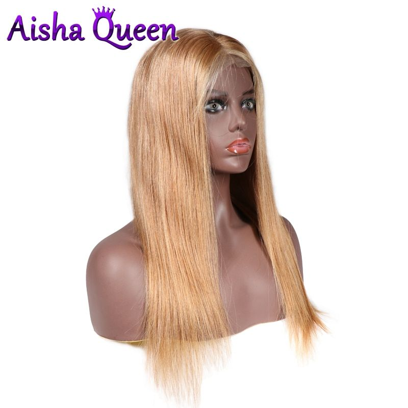 130% Density Full Lace Wig Color 27 Straight Wigs Brazilian Remy Human Hair for Black Women Preplucked With Baby Hair