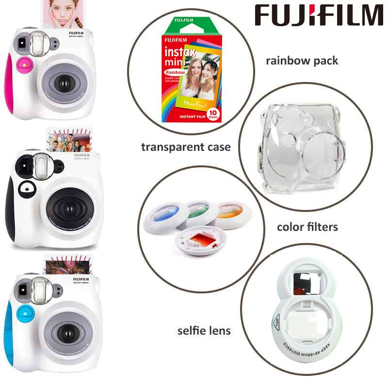 Genuine Fuji Fujifilm Instax Mini 7s Instant Camera and Camera Set with Monochrome Mini Film, Selfie Lens, Color Filters, Case