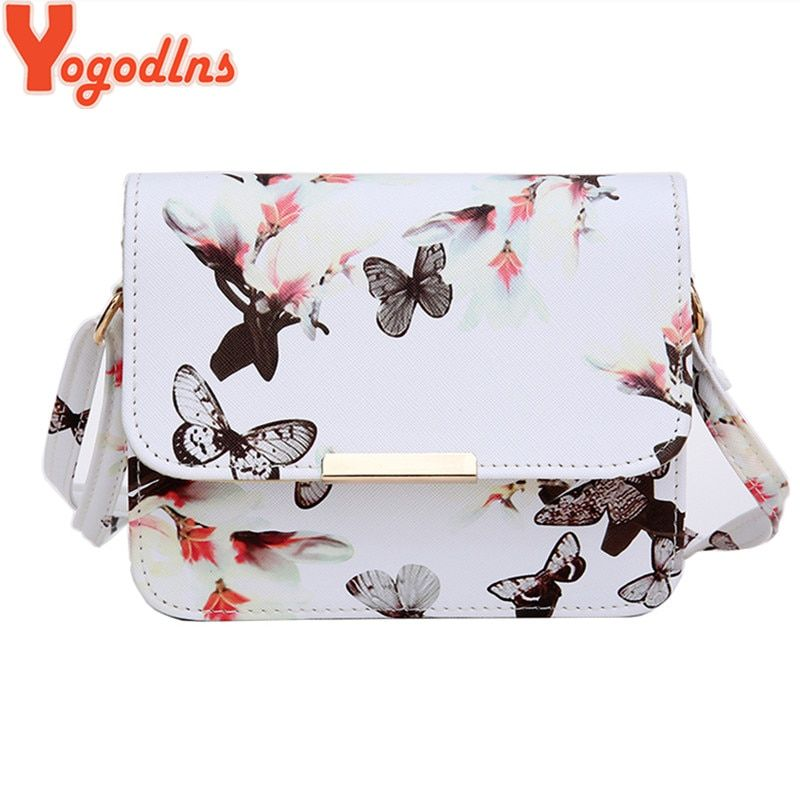 Yogodlns Luxury Women Bags Design Small Satchel Women bag Flower Butterfly Printed PU Leather Shoulder Bag Retro Crossbody Bag