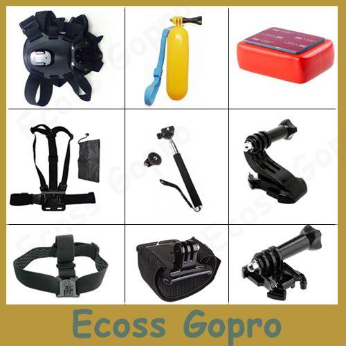 GoPro dog harness fetch+chest body mount+Hand Bobber stick+Monopod tripod For GoPro Hero4 3 3 sj4000 XiaoMi Yi 4k Accessory Set