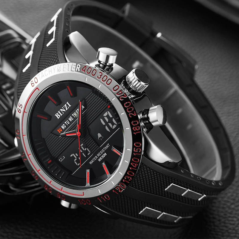 BINZI Mens Watches Top Brand Luxury Silicone Casual Digital Watch Men Military Sport Clock Wrist Watch For Men Relogio Masculino