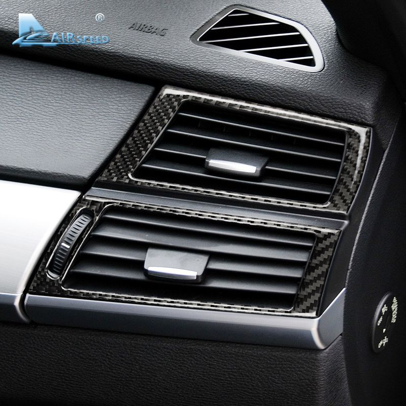 Airspeed Carbon Fiber Side Air Conditioning Outlet Decorative Frame Cover Trim for BMW E70 X5 E71 X6 Accessories Car Styling