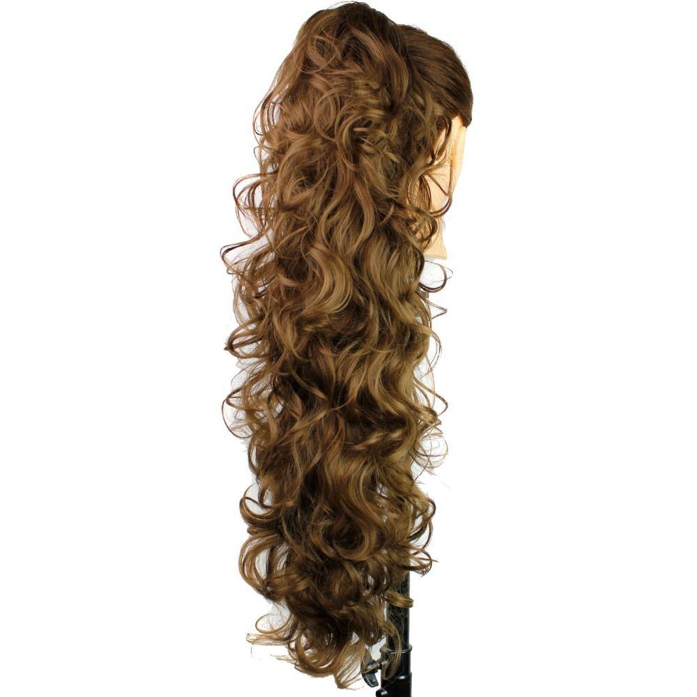 Luxe pour tressage 30 pouces 210g Long ondulé haute température Fiber synthétique cheveux pièces griffe Clip queue de cheval Extensions pour les femmes