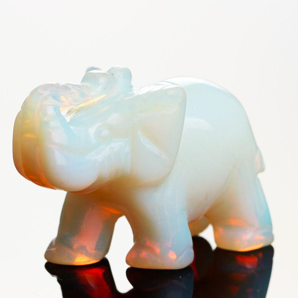 Opale Opalite oeil de Tigre Éléphant Naturel pierre sculpté 1.5 pouces Figurine Chakra Perle Guérison Cristal Reiki Feng Shui Livraison Poche