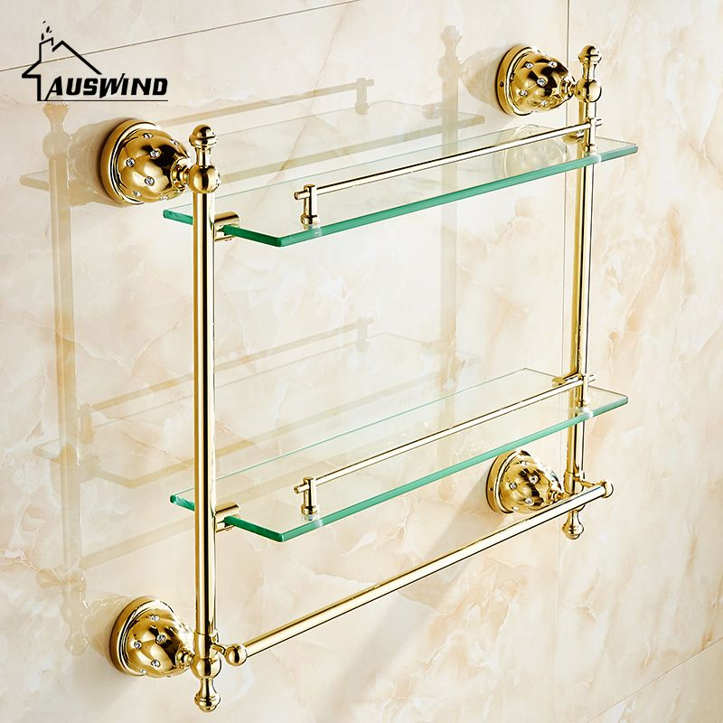 Double Layer Glass Shelf Wall Mounted Bathroom Accessories Solid Brass Golden Finish with Tempered Glass Bathroom Shelf