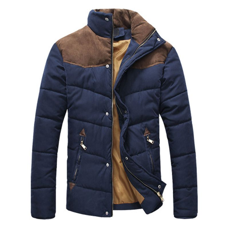 DIMUSI Clothing Winter Jacket Men Warm Causal Parkas Cotton Banded Collar Winter Jacket Male Padded Overcoat Outerwear,YA332