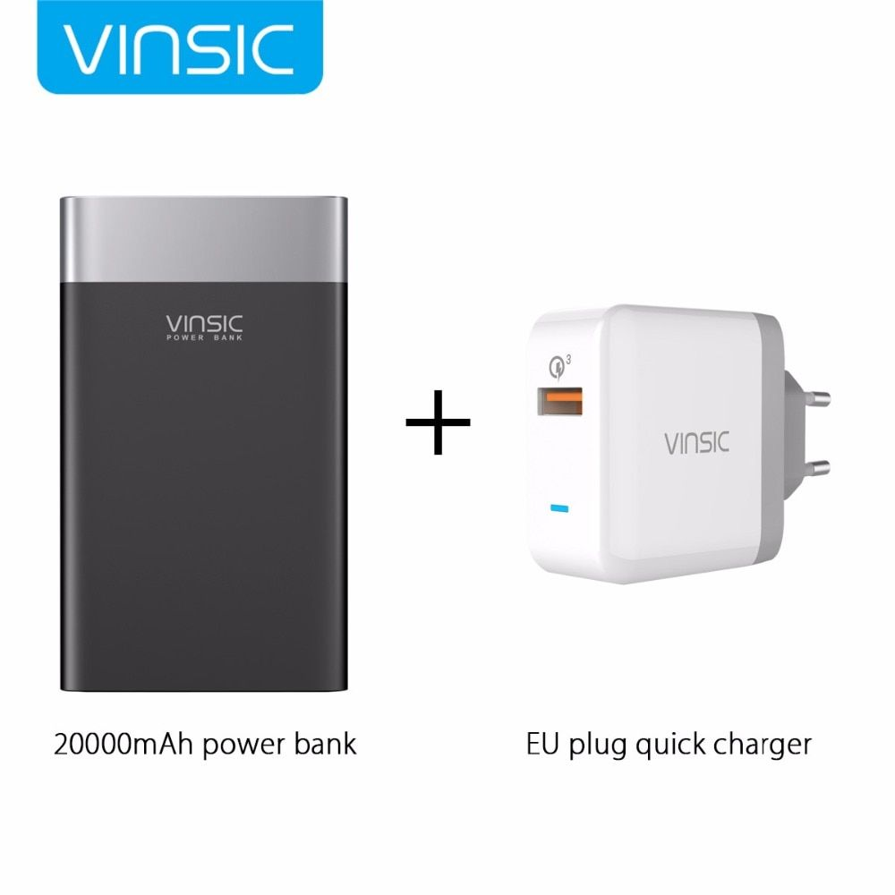 Vinsic Terminator P3 20000mAh Quick Charge 3.0 Power Bank QC3.0 2.4A Dual USB Type-C For iPhone 8 X Samsung S9 Xiaomi Mi8