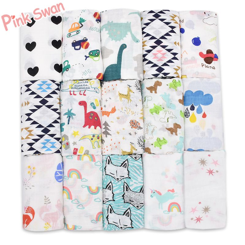 PINK SWAN100%Muslin Cotton Blankets Dinosaur Unicorn Patterns Multi-use Newborn Swaddle Muslin Infant Gauze Both Towel Baby Warp