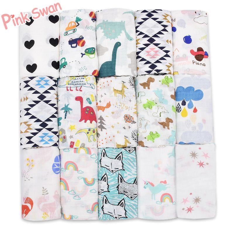 Rose SWAN100 % mousseline coton couvertures dinosaure licorne modèles multi-usage nouveau-né Swaddle mousseline infantile gaze à la fois serviette bébé chaîne