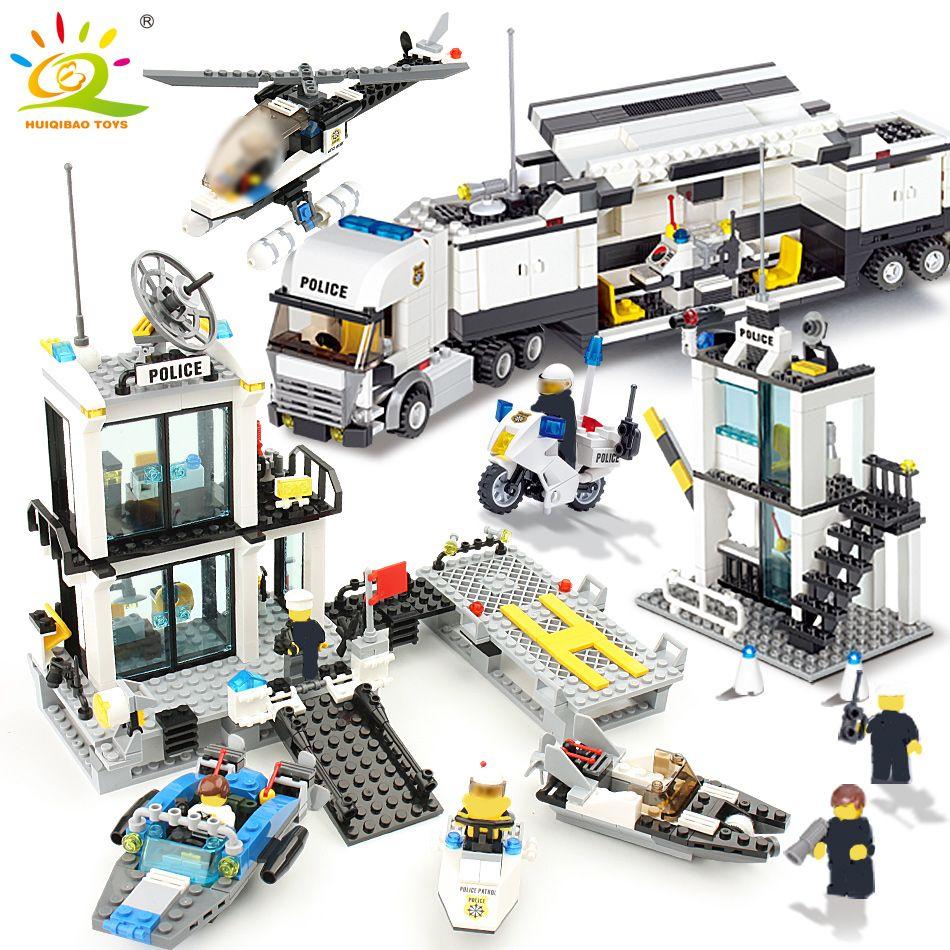 536 pièces blocs de construction poste de Police Prison chiffres ville éclairer briques jouets pour enfants camion hélicoptère