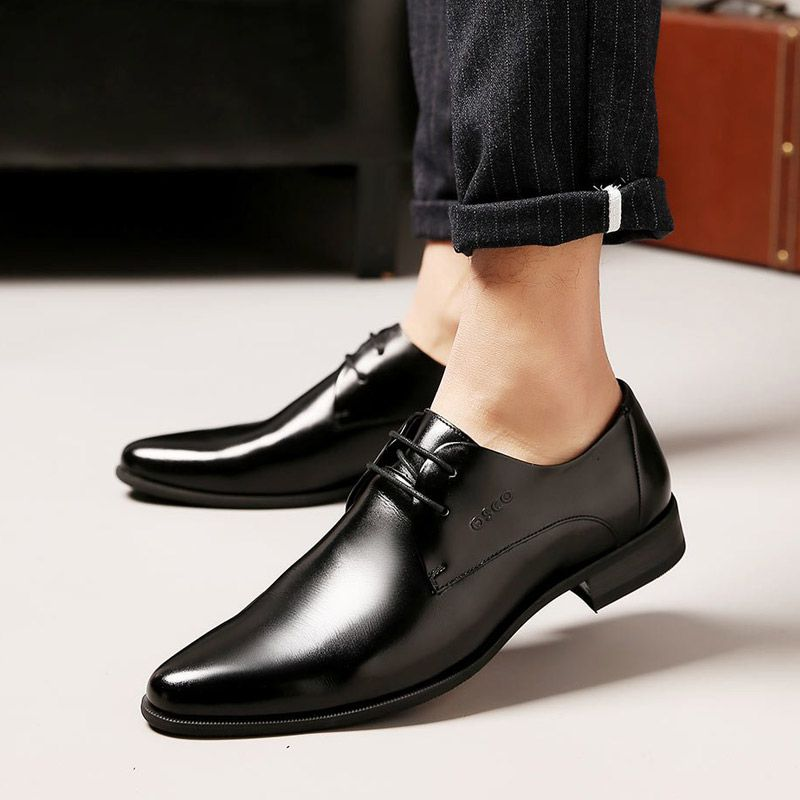 OSCO Men Shoes Spring Summer Formal Genuine Leather Business Casual Shoes Men Dress <font><b>Office</b></font> Luxury Shoes Male Breathable Oxfords