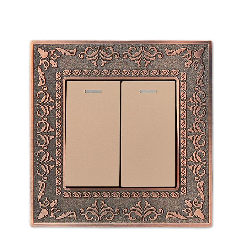 Wall Switch 2 Gang 1 Way, 86 Antique Copper Carved Zinc Alloy Switch Panel, 10A AC110-250V