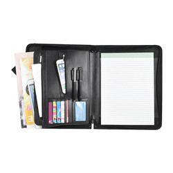 A4 Padfolio Kulit PU Kulit Portofolio A4 Ritsleting Multifungsi Portofolio File Organizer dengan Pad Kantong Kartu