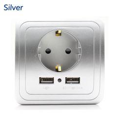 Best Dual USB Порты и разъёмы 2000mA стены Зарядное устройство адаптер ЕС розетка с USB Мощность Outlet Панель