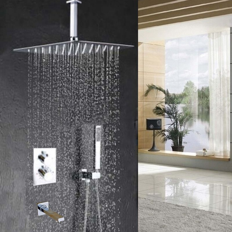 Wholesale And Retail Promotion Large Square Rain Shower Thermostatic Shower Faucet Set W/ Hand Shower