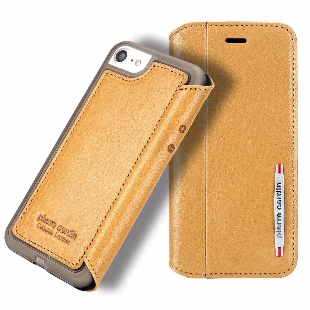 Original Pierre Cardin Phone Cases Für iPhone 7 Plus 8 Plus luxus Schlanke Echtleder Fall Für iPhone 7 8 Silikon Fall abdeckung