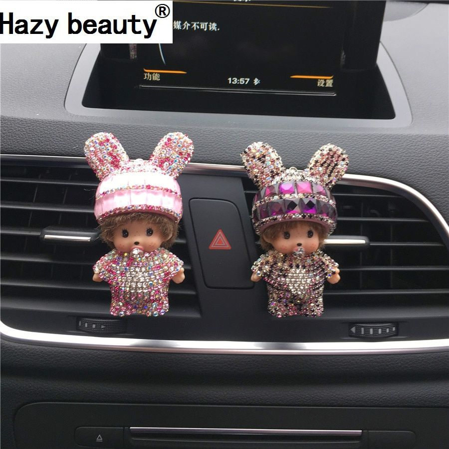 Hazy beauty New car outlet perfume Cute rabbit ear perfume Diamond automobile air conditioning accessories Car-styling
