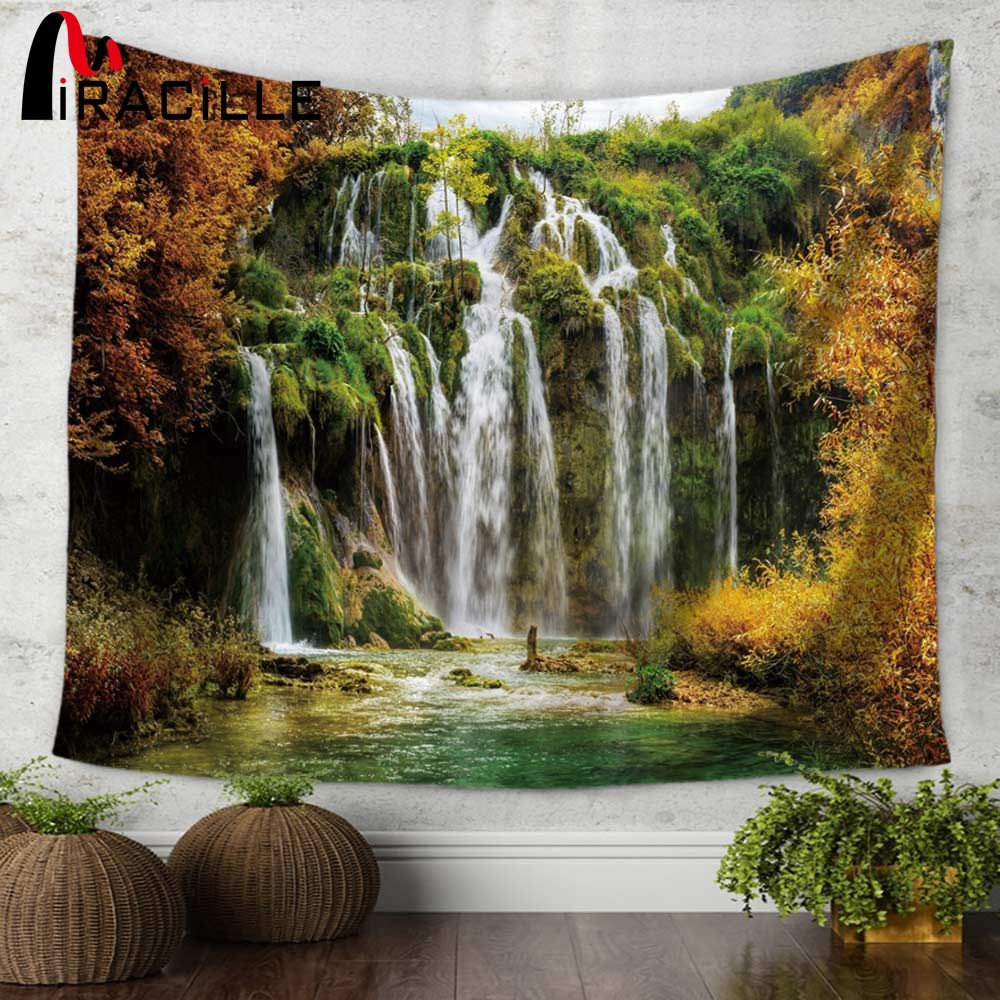 Miracille Waterfall Mountain Scenery Printing Wall Hippie Tapestry Polyester Fabric Home Wall Decoration 130x150/150x200cm