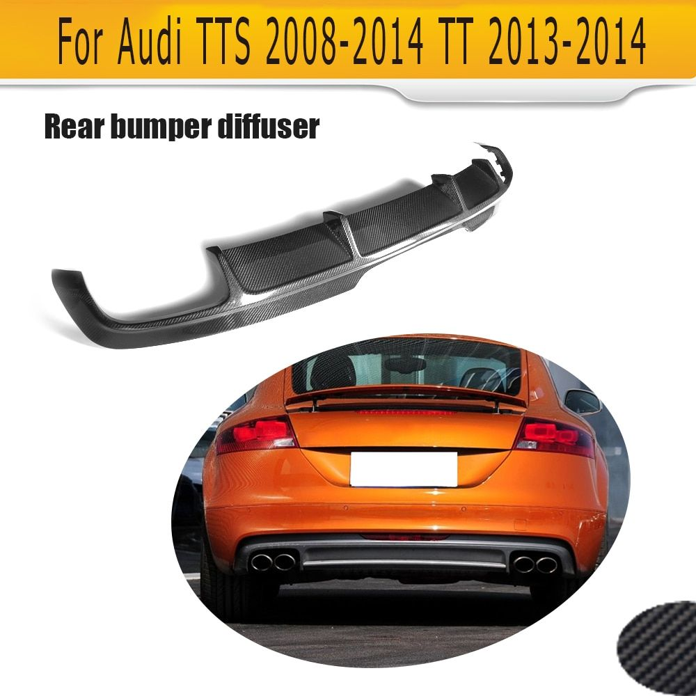 Углерода Волокно Авто заднего бампера Диффузор для губ для Audi TTS бампера 2008-2014 TT 2013 2014