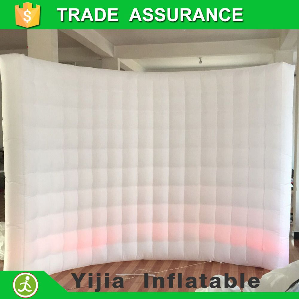 Hot sale wedding decoration 10ft photo booth backdrop led inflatable wall with different colors