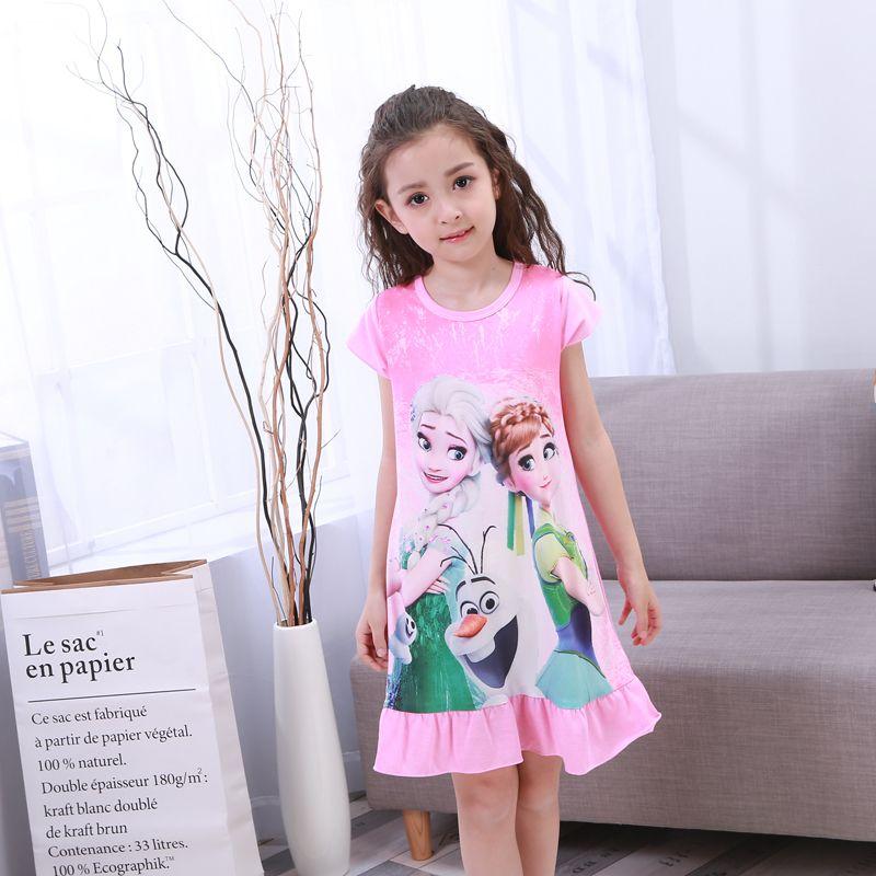 New listing 2018 children's clothing summer fashion dress girls pajamas cute sweet princess pajamas children girls Tracksuit