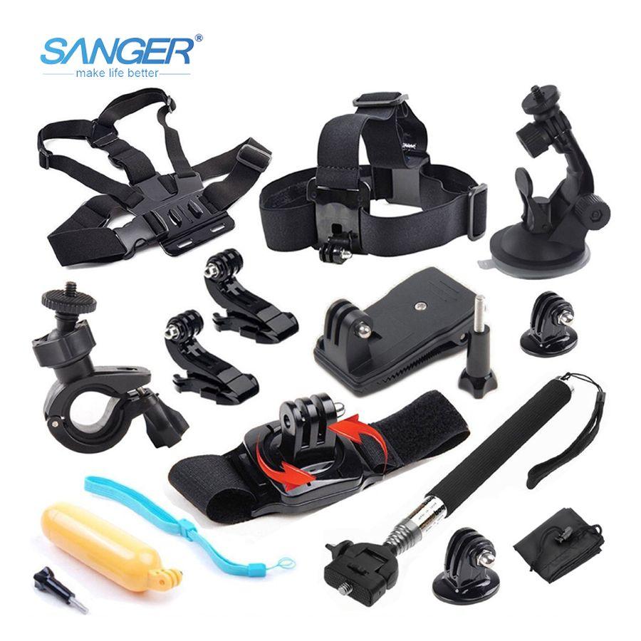 SANGER pour Gopro accessoires set fixation poitrine 12in1 kit pour Go Pro Hero 6 5 4 3 + 3 Xiaomi Yi 4 K Aee Sjcam sj4000 caméra d'action