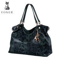 FOXER de las mujeres de la marca de piel de serpiente de cuero genuino diseñador clásico bolso de hombro bolsos de las mujeres Elunic Bolsos De Mujer las mujeres mensajero bolsas