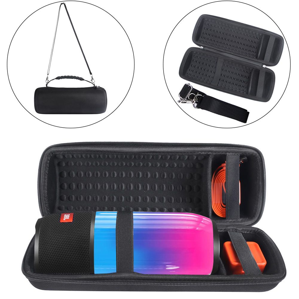 Hard Protect Case Cover Storage Pouch Bag Sleeve Travel Carry Case for JBL Pulse 3 Speaker-Extra Space for Plug&Cable(With Belt)