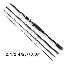Toma 2.1 M 2.4 M 2.7 M 3.0 M 100% Carbon Fiber Rod Berputar Fishing Rods Casting Perjalanan Rod 4 bagian Tindakan Cepat Memancing Lure Rod