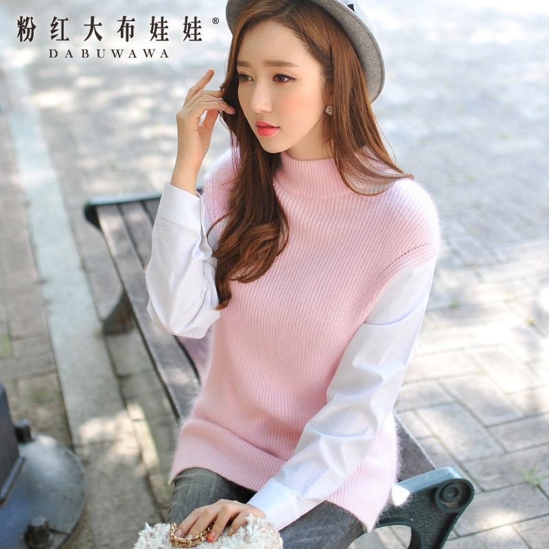 original brand 2016 female long sleeve korean women's new sweaters ladies stand knitted pullovers light pink wholesale